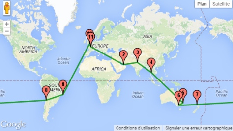 carte de notre trajet tour du monde 2016