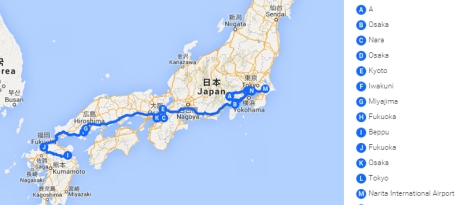 Trajet Japon 2013