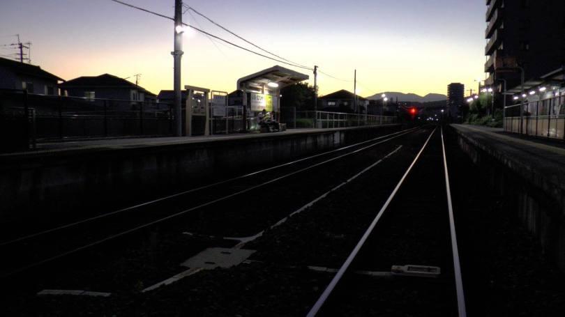 Attente du dernier train, dans une petite gare perdue près de Oita...