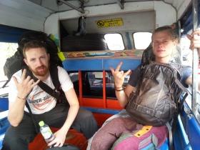 Olivier et Romain dans un tuktuk a Aranyaprathet