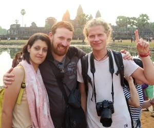Nadege, Olivier et Romain aux temples d'Angkor