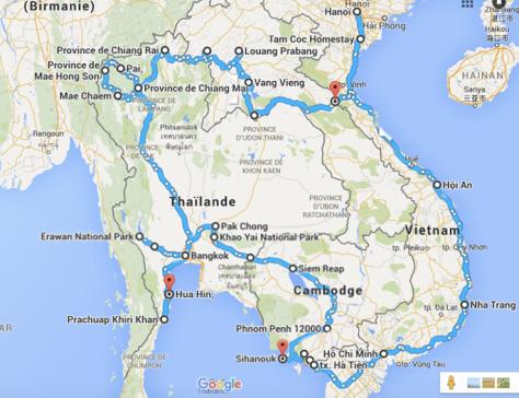 Carte de notre traversée d'Asie du Sud-Est